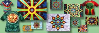 tie dyed shapes and mandalas
